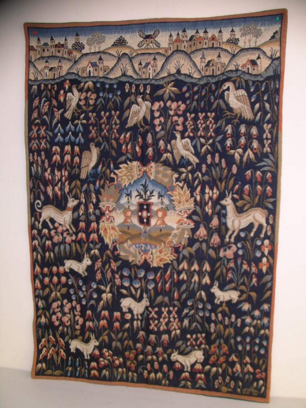 1313: FRENCH MEDIEVAL STYLE WALL HANGING TAPESTRY