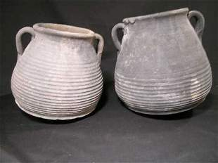 CLAY POTS TWO HANDLED PRIMITIVE HAND THROWN 2 PC