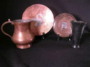 GROUP HAMMERED MIXED METAL PITCHER CUP PLATES 4 PC