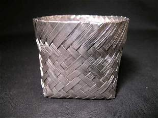 TANE STERLING SILVER MEXICAN WOVEN BASKET SMALL