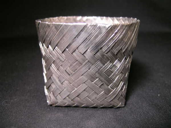801: TANE STERLING SILVER MEXICAN WOVEN BASKET SMALL