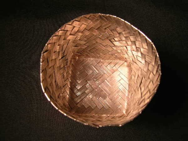 801: TANE STERLING SILVER MEXICAN WOVEN BASKET SMALL - 2