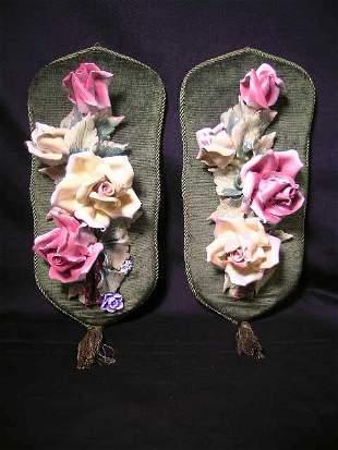 PR CAPPODIMONTE STYLE PORCELAIN FLOWER HANGINGS