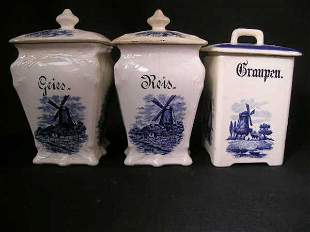 HEDWIG BLUE WHITE CERAMIC COVERED CANISTERS