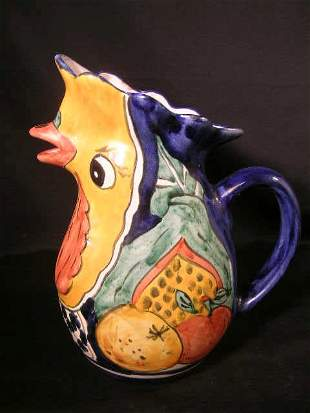 MEXICAN POTTERY ROOSTER FACE WATER PITCHER