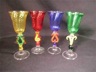FIGURAL BLOWN ART GLASS STEMWARE GLASSES 4 PCS