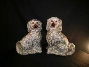 PR ANTIQUE STAFFORDSHIRE PORCELAIN DOGS FIGURINE