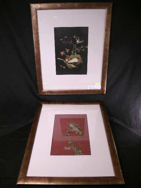 2 FRAMED LITHOGRAPHS BIRD FLORAL FRUIT DEIGN