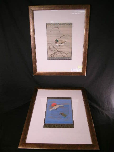 2 FRAMED LITHOGRAPHS DUCK TURTLE WATER DESIGN