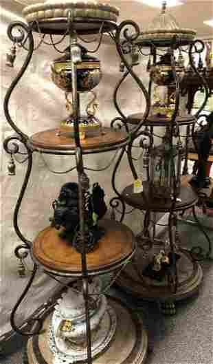 METAL AND LEATHER 3TIER ETAGIER