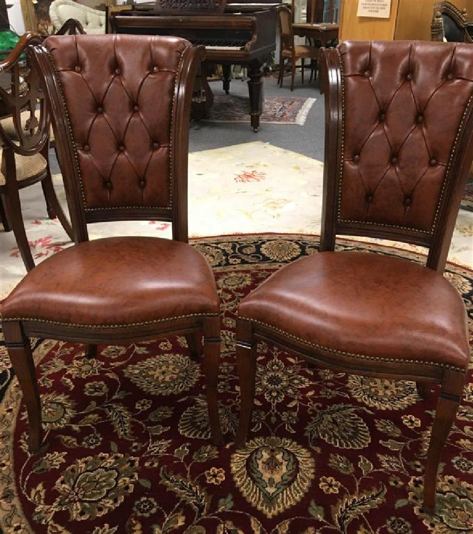 PAIR FAUX TUFTED LEATHER UPHOLSTERED SIDE CHAIRS