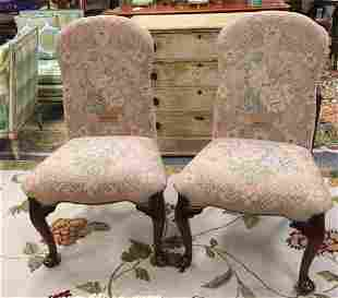 PAIR MAITLAND SMITH NEEDLEPOINT SIDE CHAIRS