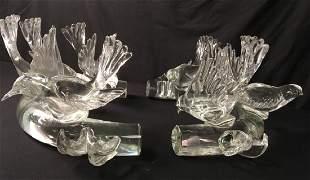TWO VINTAGE ITALIAN ART GLASS SCULPTURES: BIRDS