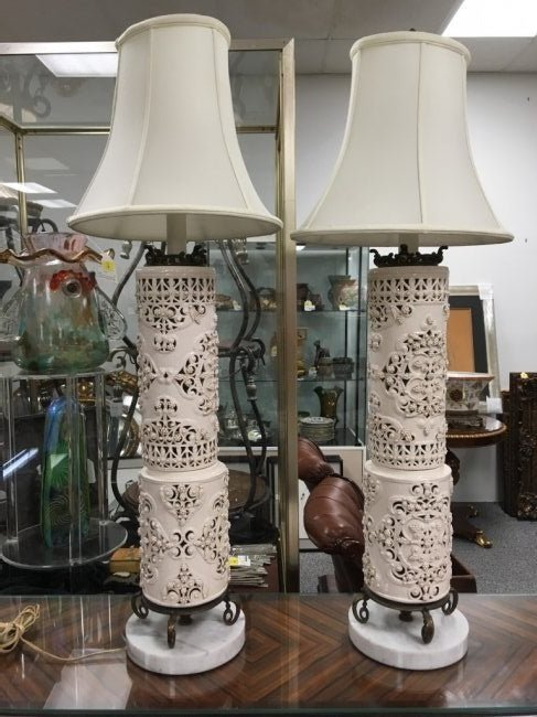PAIR MONUMENTAL RETICULATED PORCELAIN LAMPS