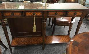 VINTAGE ROSEWOOD PARQUETRY INLAID CONSOLE TABLE