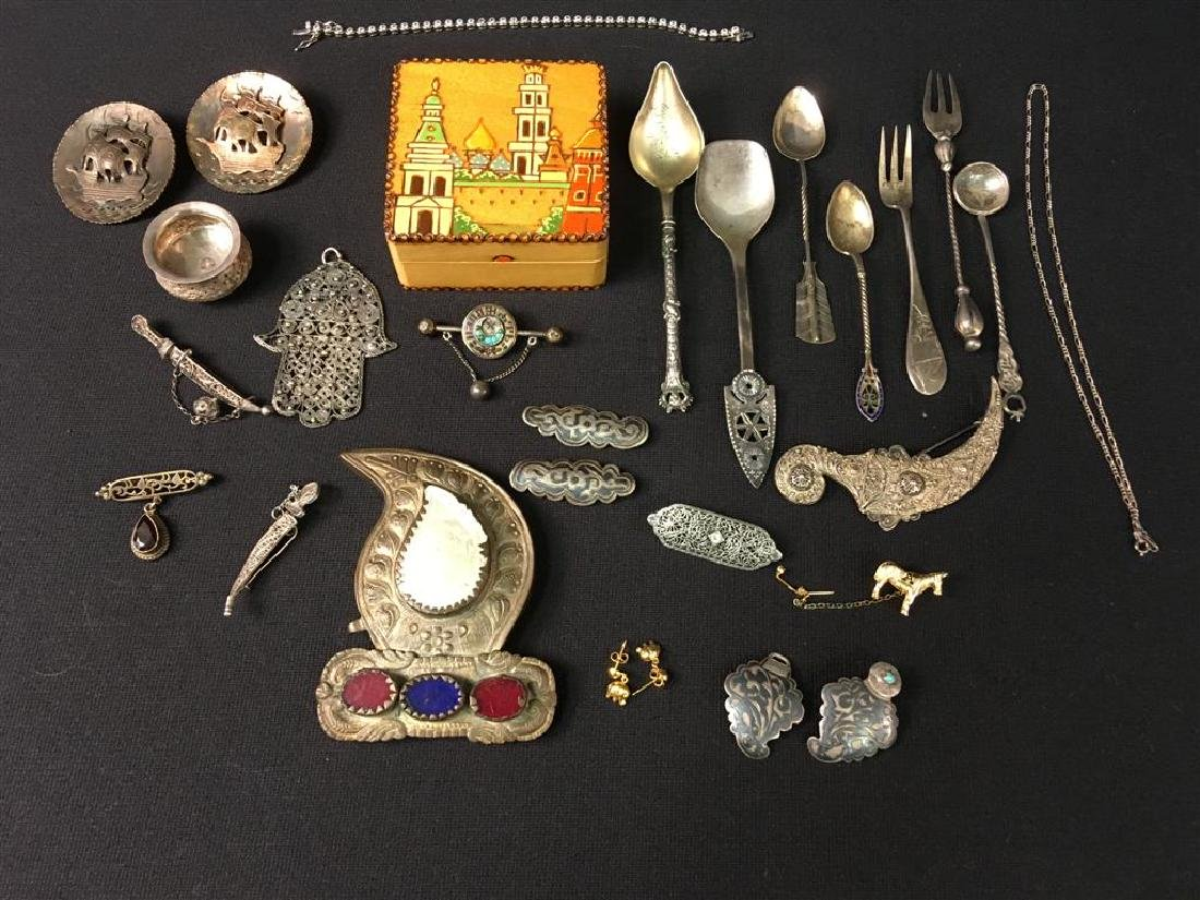 ASSORTED RUSSIAN SILVER & OTHER JEWELRY