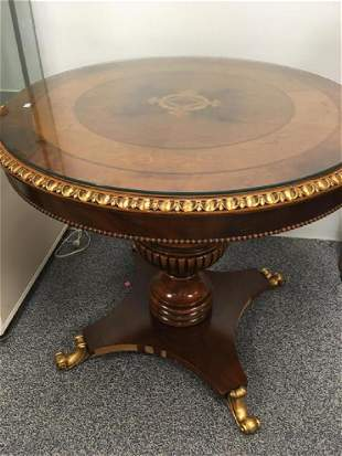 ROUND MARQUETRRY INLAID PEDESTAL CENTER TABLE