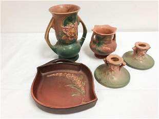 ROSEVILLE POTTERY WATERLILY COLUMBINE CANDLESTIC