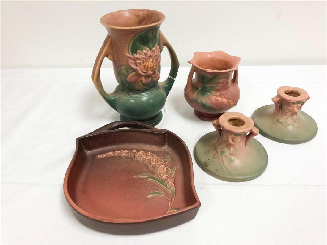 ROSEVILLE POTTERY: WATERLILY, COLUMBINE CANDLESTIC