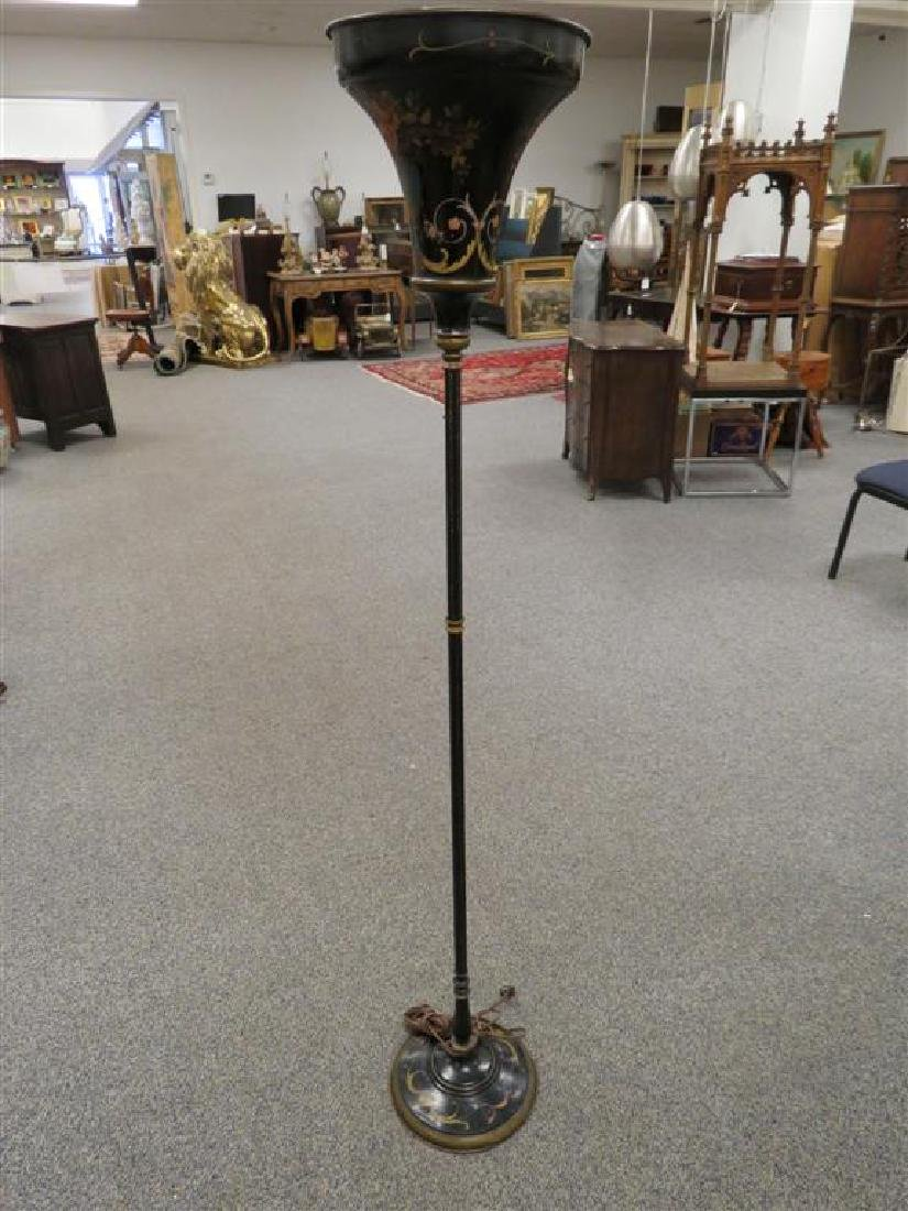 FLORAL PAINTED TOLE FLOOR LAMP