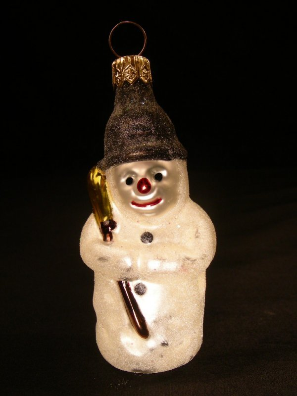 1: CHRISTOPHER RADKO ORNAMENT MINI SNOWMAN CLOCK CAP