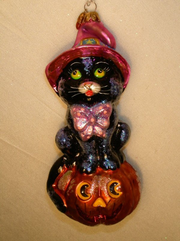3: CHRISTOPHER RADKO ORNAMENT WITCH CAT ON JACK O LANTE