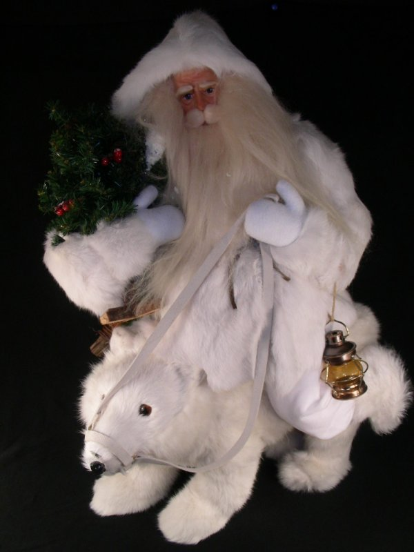 174: CHRISTMAS SANTA RIDING POLAR BEAR RABBIT FUR FIGUR