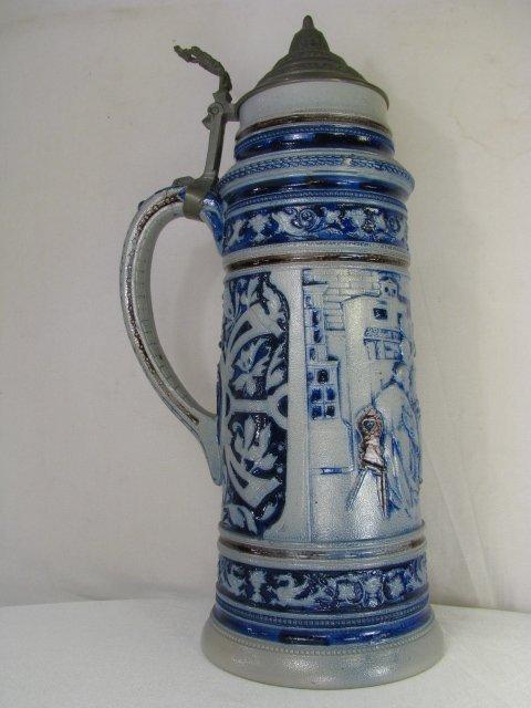 260: GERMAN BLUE SALT GLAZE STONEWARE BEER STEIN 3 Lite