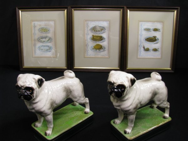 264: 3 BEETON VICTORIAN PRINTS & 2 PUG DOG BOOKENDS