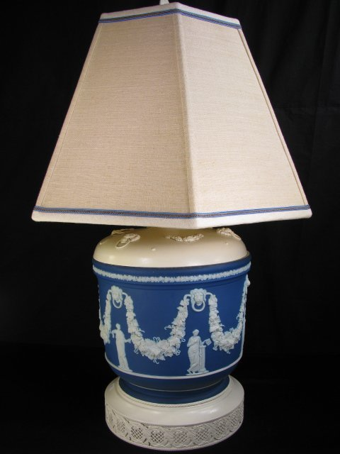 265: WEDGWOOD JARDINIERE LAMP W/ METAL BASE