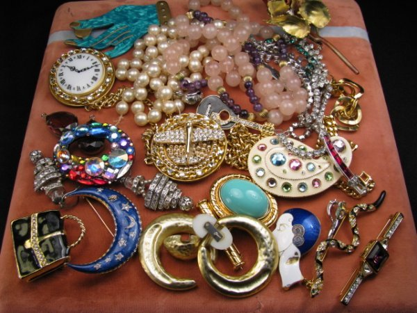 271: VINTAGE COSTUME JEWELRY PINS  EARRINGS NECKLACES