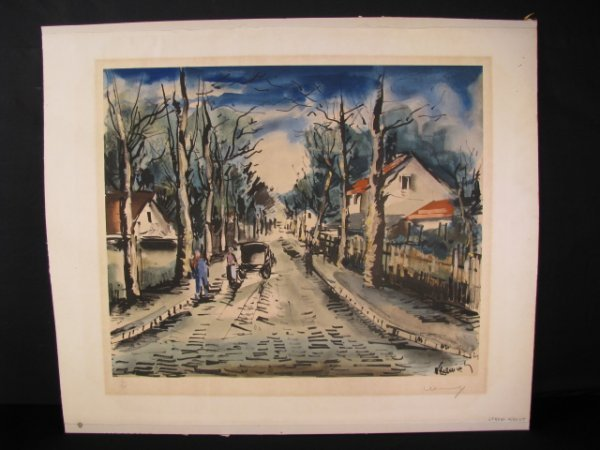 653: STREET SCENE w FIGURES LITHOGRAPH SIGNED NUMBERED