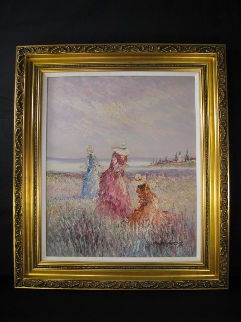 660: OIL PAINTING CANVAS OF WOMEN IN A MEADOW