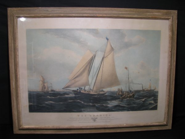 667: HAND COLORED YACHT RACE LITHOGRAPH THE AMERICA