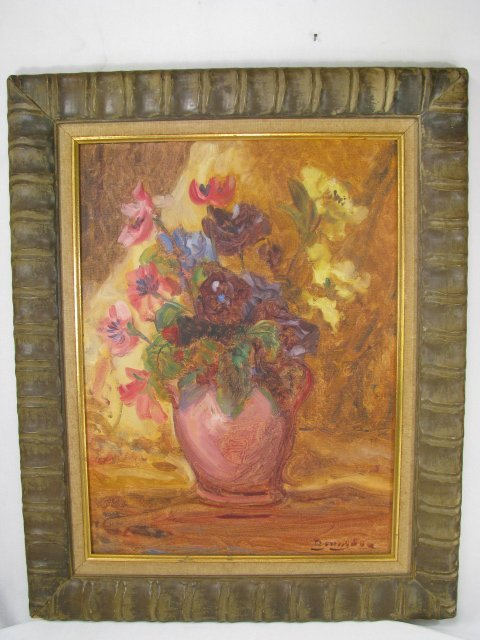668: ANTIQUE FLORAL STILL LIFE OIL PAINTING ON BOARD