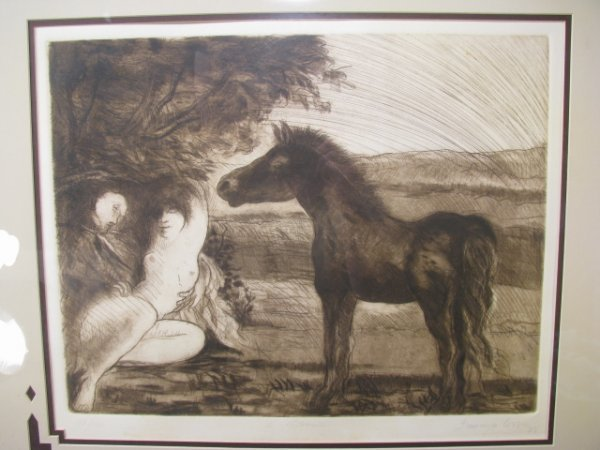 669: FRANCISCO CORZAS DRYPOINT ETCHING SIGNED & NUMBERE
