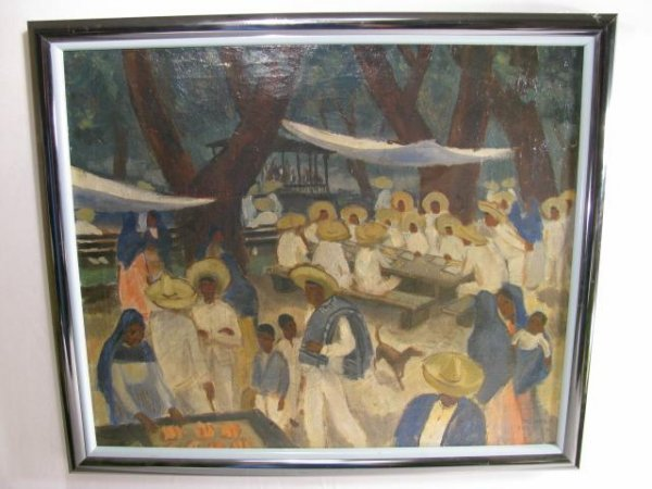670: RICHARD CRIST PAINTING MARKET VIEW dated '34