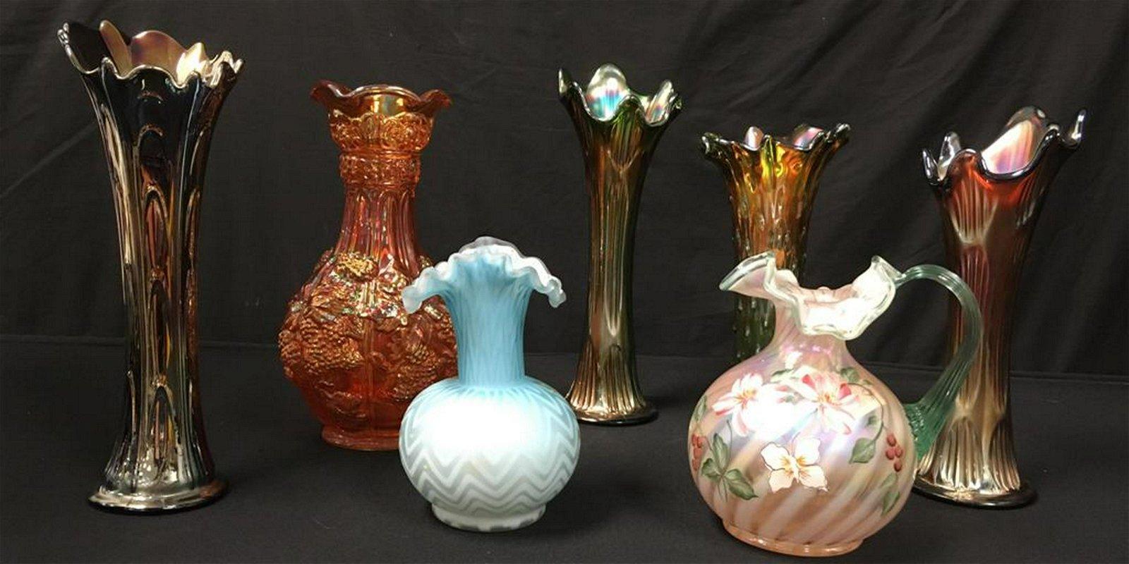ART GLASS: CARNIVAL, NORTHWOOD, VICTORIAN etc 7PC