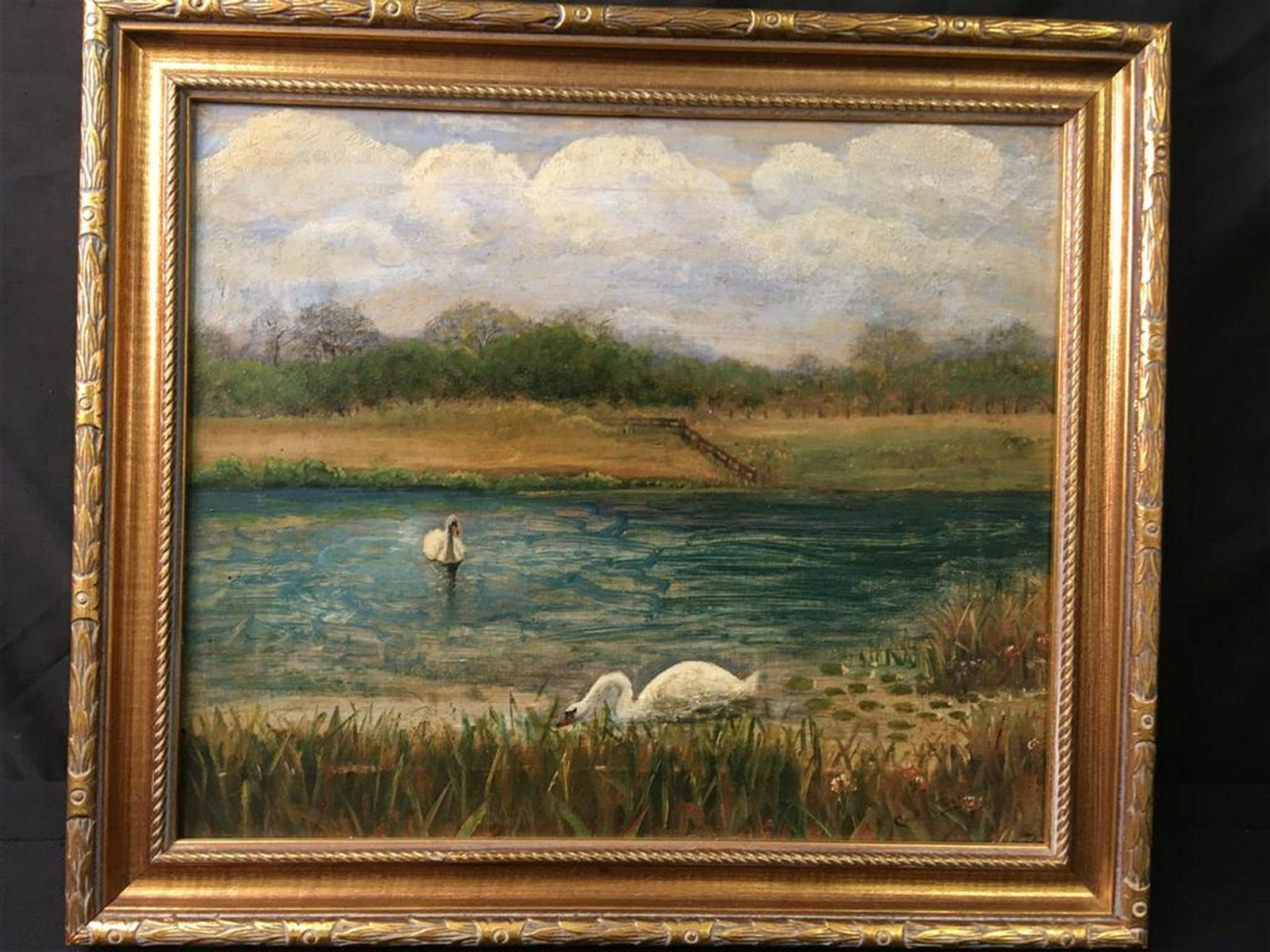 OIL PAINTING: LAKE WITH SWANS SIGNED
