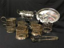 ASSORTED RUSSIAN & AMERICAN SILVER & SILVER PLATE
