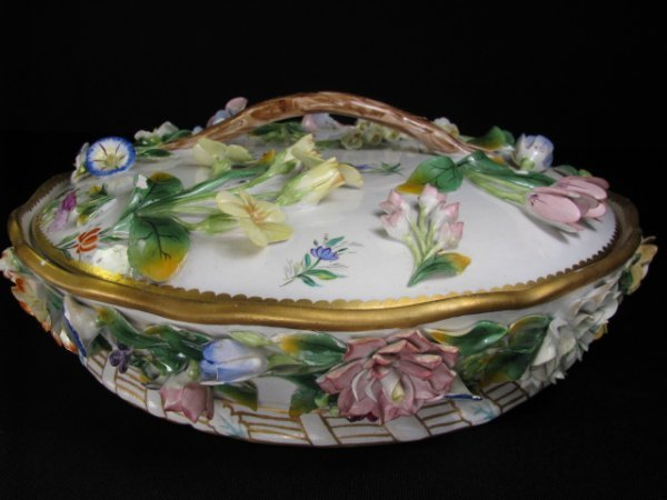 3: LARGE ITALIAN FAIENCE FLORAL COVERED DISH