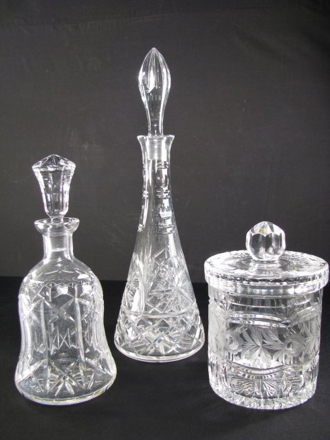 13: CUT GLASS DECANTERS & BISCUIT JAR 3 PIECES