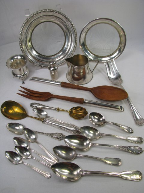 20: STERLING SILVER TRAY CREAMER SALAD SPOON FORK ETC