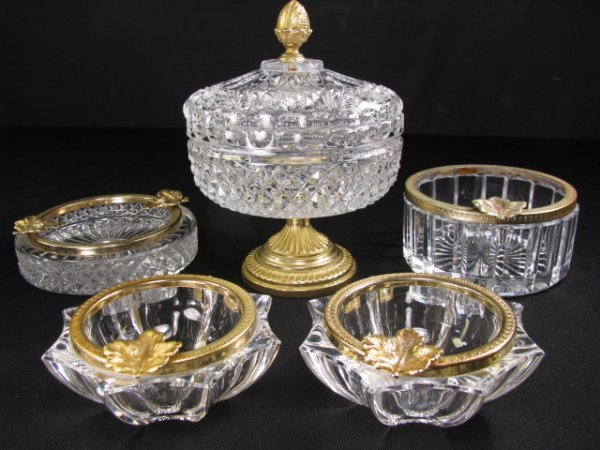 21: CRYSTAL GILT METAL ASH TRAYS & COVERED DISH 5pcs