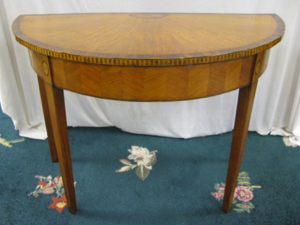 180: ANTIQUE VENEER INLAY HALF MOON CONSOLE TABLE