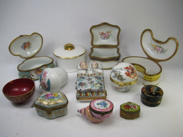 354: ENAMEL & PAINTED PORCELAIN BOXES COALPORT LIMOGES