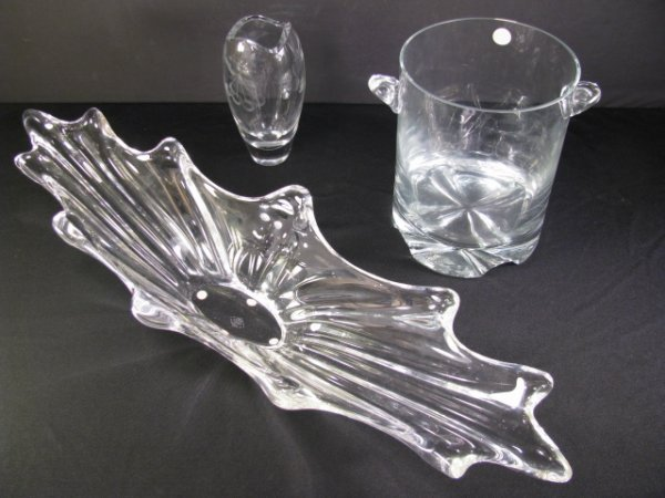 355: CRYSTAL ICE BUCKET VANNES ART GLASS BOWL etc. 3pc