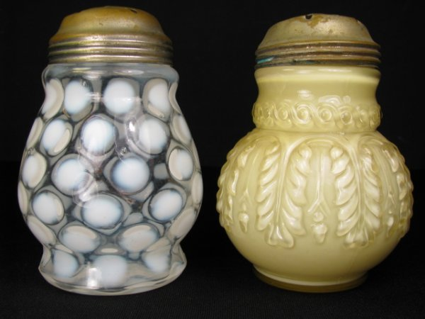 356: TWO ANTIQUE GLASS MUFFINEER SUGAR SHAKERS