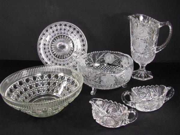 361: CUT & PRESSED GLASS BOWLS PITCHER ETC 6 PIECES