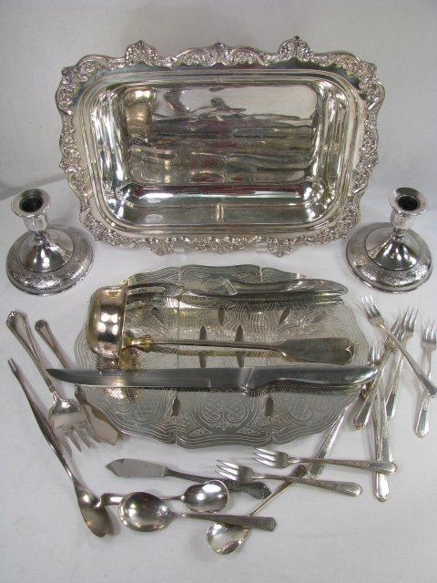 369: GROUP OF ASSORTED SILVER PLATE HOLLOW & FLATWARE